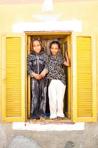 Nubian girls in a window