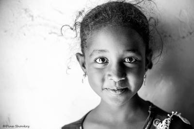Portrait of a Nubian girl from heyssah island, Aswan, Egypt